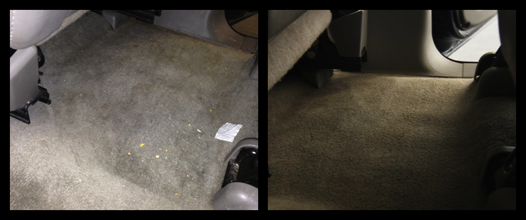 "Carpet (left: before, right: after) -- It's hard to see but can you see the stains at the top right of the ""before"" picture? Those are pop stains that I have never been able to get out. Now, gone!"