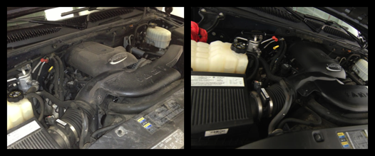 Under the hood (left: before, right: after)