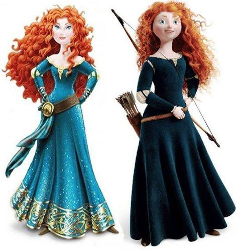 Left: rumored Merida make-over. Right: original Merida.
