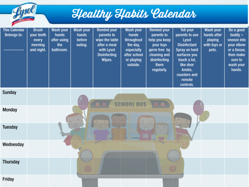 Lysol Cold and Flu Healthy Habits Calendar